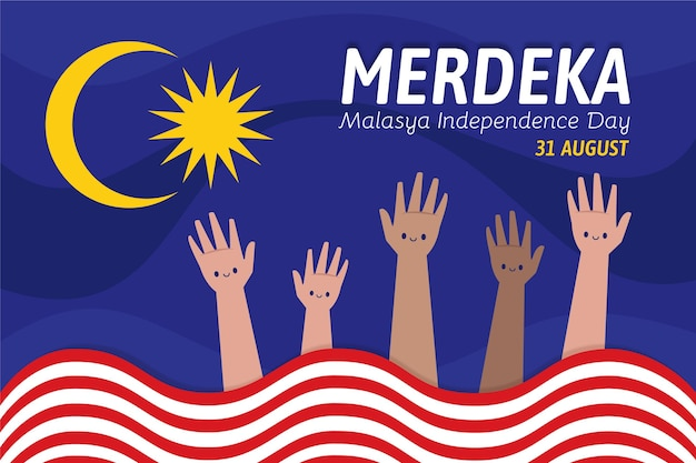 Illustration of independence day ofmalaysia Free Vector