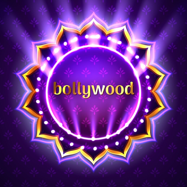 Illustration of indian bollywood cinema sign board, neon illuminated banner with golden logo on violet floral background Premium Vector