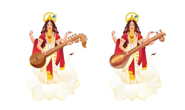 Illustration of indian mythological goddess saraswati Premium Vector