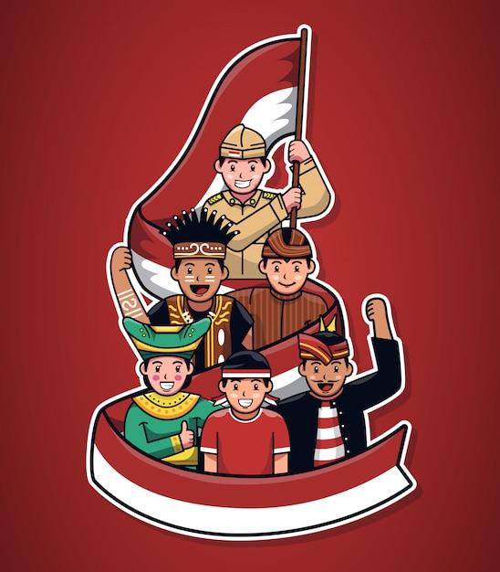 Illustration of indonesian cultural people with flag ribbon Premium Vector