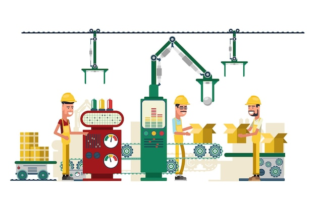 Illustration of industry technology equipment and workers Free Vector