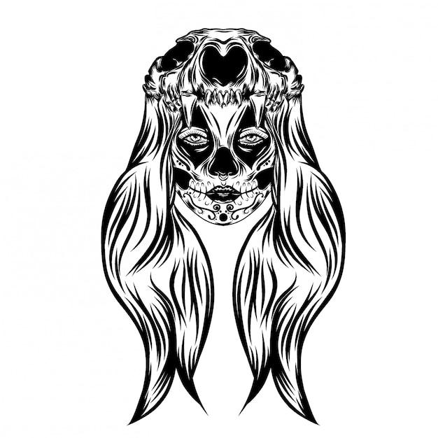 頭の動物の頭蓋骨を持つ女性とイラストインスピレーション少女 Premiumベクター