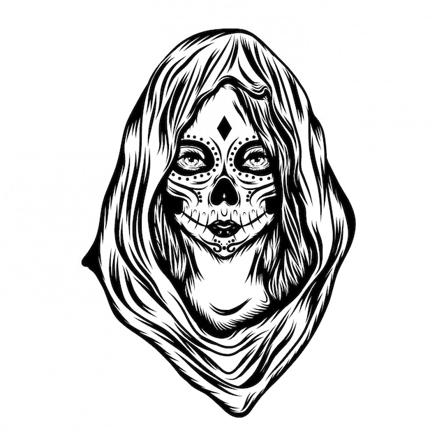 フェイスアートと大きなフードを持つ女性のイラストインスピレーション Premiumベクター
