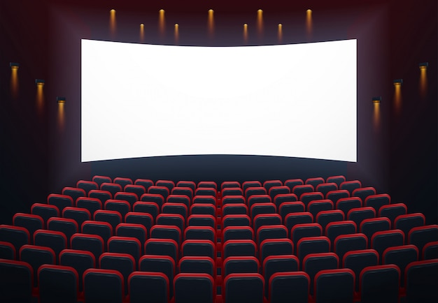 An illustration of the interior of a cinema movie theatre with copyspace on the screen Premium Vector