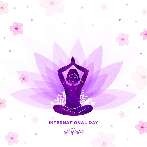 Illustration of international day of yoga in watercolor Free Vector
