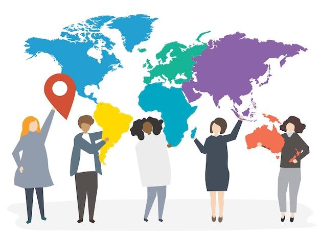 Illustration of international diverse people Free Vector