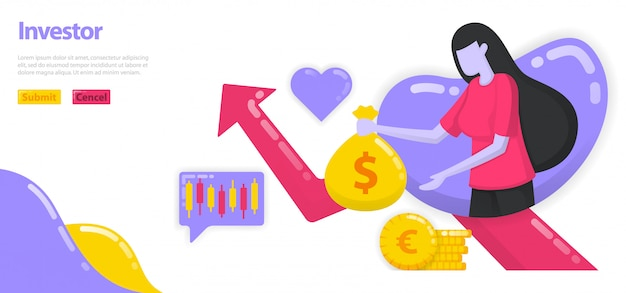 Illustration of investors investing money and assets to grow wealth. women hold bags of money or dollars, growth charts. Premium Vector