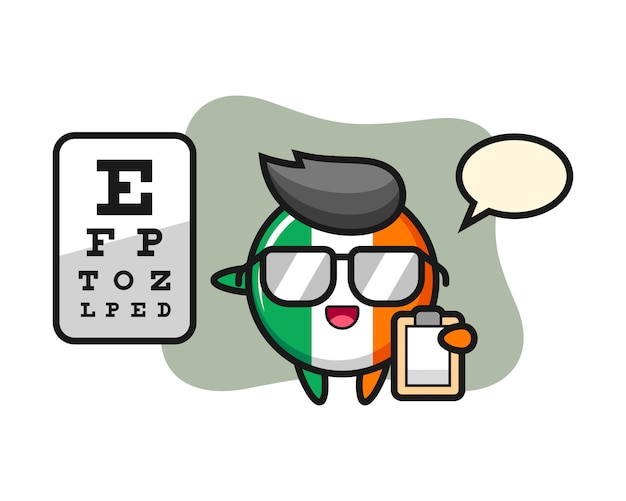 Illustration of ireland flag badge mascot as a ophthalmology Premium Vector