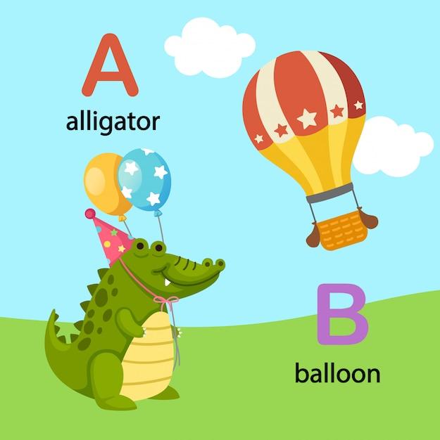 Illustration isolated alphabet letter a-alligator,b-balloon Premium Vector