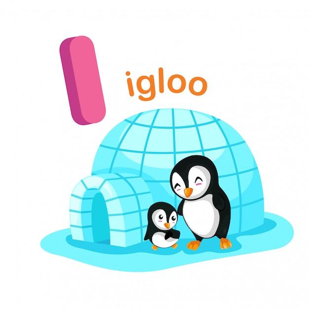 Illustration isolated alphabet letter i igloo Premium Vector
