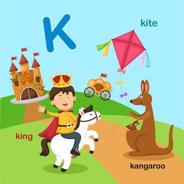 Иллюстрация изолированных буква алфавита k Premium векторы