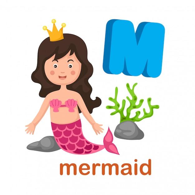 Illustration isolated alphabet letter m mermaid Premium Vector