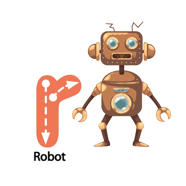 Illustration isolated alphabet letter r-robot Premium Vector
