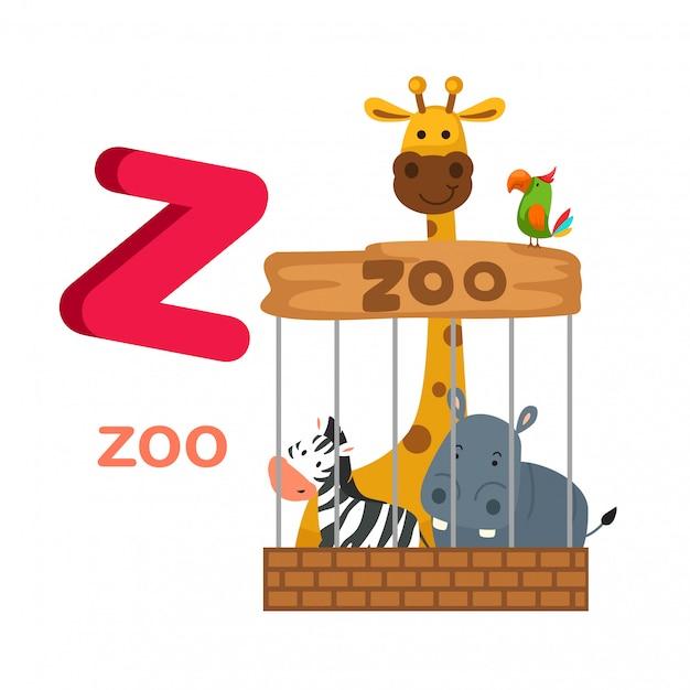 イラスト隔離されたアルファベットの手紙z動物園 Premiumベクター