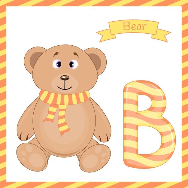 Illustration of isolated animal alphabet b with bear cartoon Premium Vector