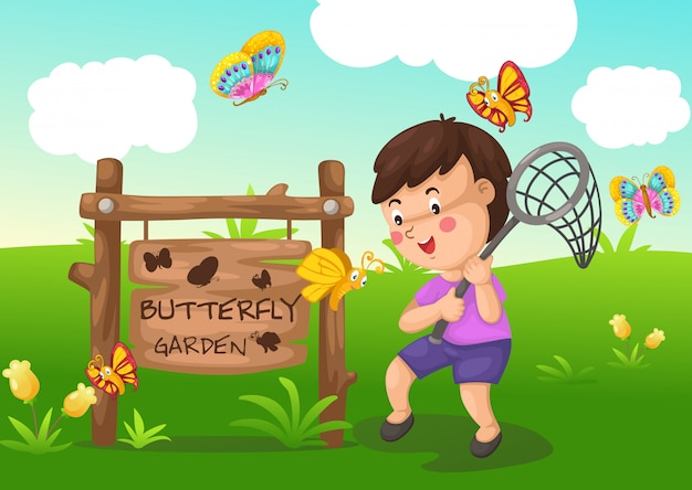 Illustration of isolated butterfly garden Premium Vector
