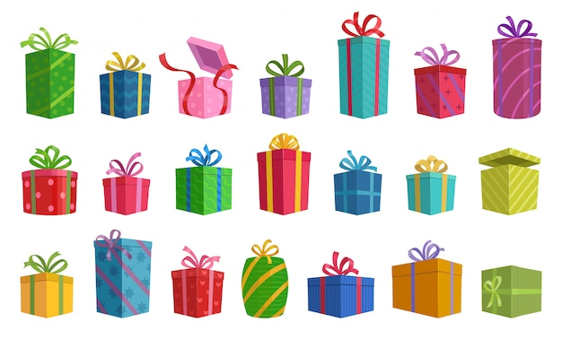Illustration of isolated cartoon icon gift box with ribbon. Premium Vector