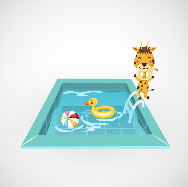 Illustration of isolated giraffe and a swimming pool Premium Vector