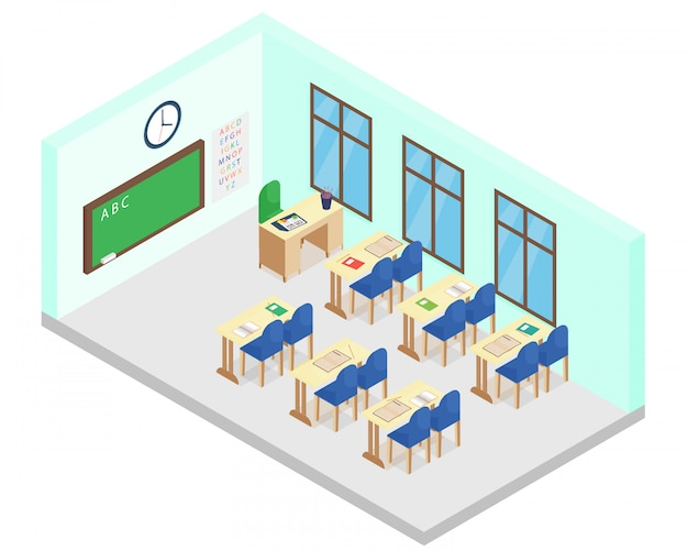 Illustration of isometric school class room. includes table, chairs, books, blackboard in cartoon flat style. Premium Vector