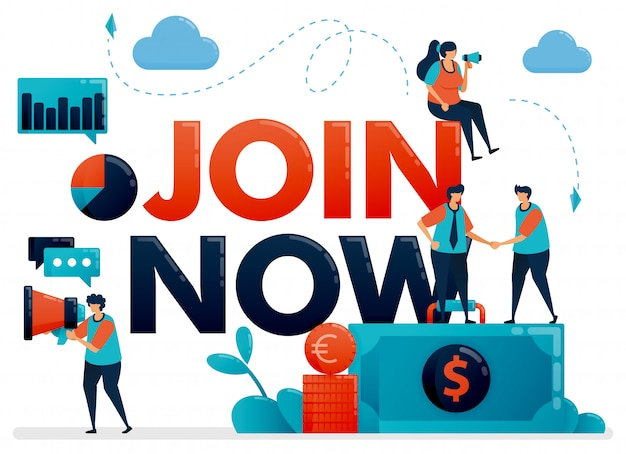 Illustration of join now poster for referral program. promotion of we are hiring . announcement for employee vacancy, recruitment Premium Vector
