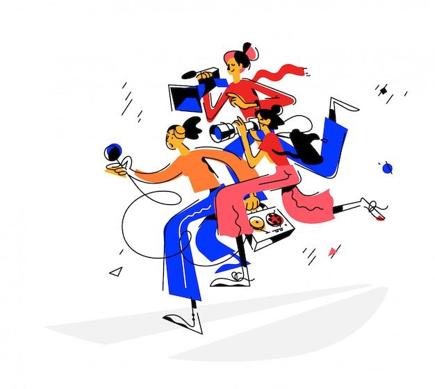 Illustration of journalists girls Premium Vector