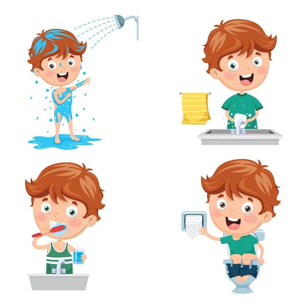 Illustration of kid bathing, brushing teeth, washing hands after toilet Premium Vector
