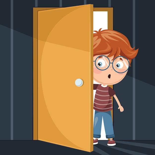 Illustration of kid entering dark room Premium Vector