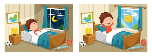 Illustration of kid sleeping Premium Vector