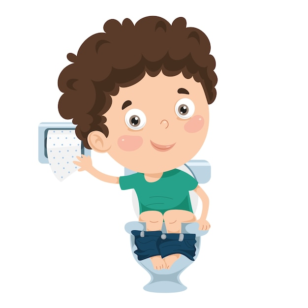 Illustration of kid at toilet Premium Vector