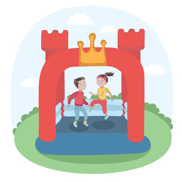 Illustration of kids jumping in colorful small air bouncer inflatable trampoline castle on the meadow Premium Vector