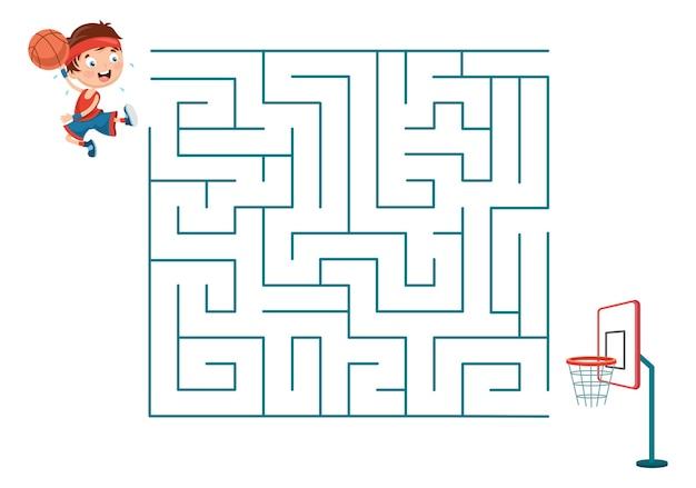 Illustration of kids playing basketball maze Premium Vector