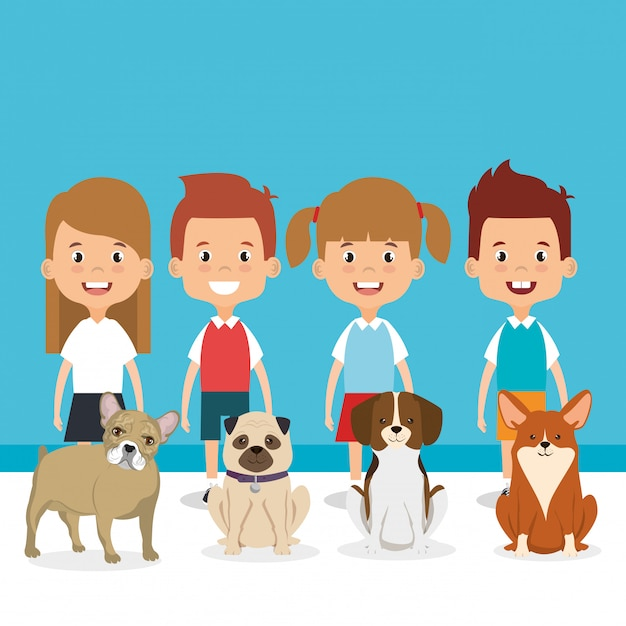 Illustration of kids with pets characters Free Vector