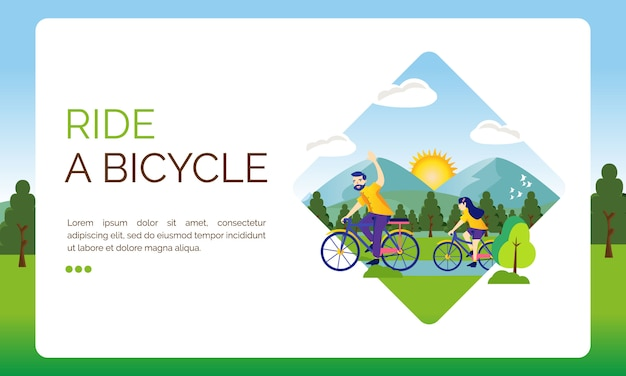 Illustration for landing page, let's ride a bicycle Premium Vector