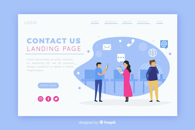 Illustration for landing page with contact us concept Free Vector