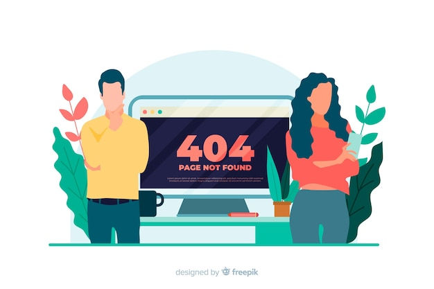 Illustration for landing page with error 404 concept Free Vector
