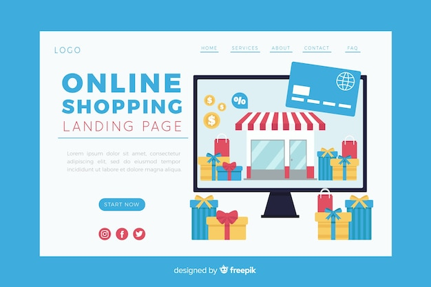 Illustration for landing page with online shopping concept Free Vector