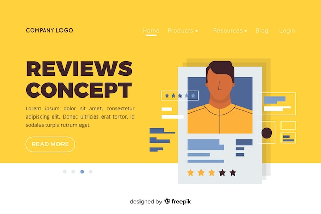 Illustration for landing page with reviews concept Free Vector