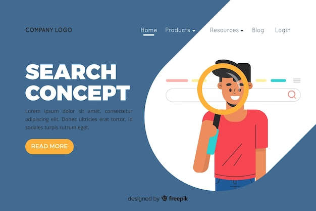Illustration for landing page with search concept Free Vector