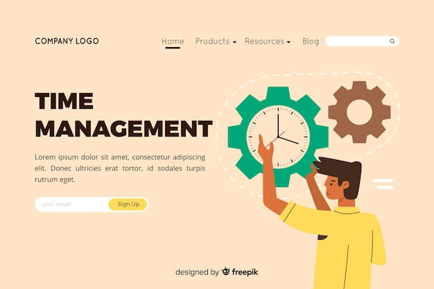 Illustration for landing page with time management concept Free Vector