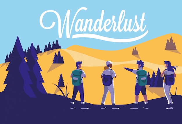 Illustration landscape forest with travelers wanderlust Premium Vector