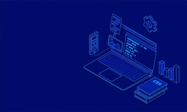 Illustration of laptop with multiple screens Premium Vector