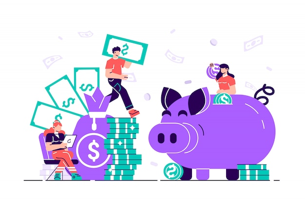 Illustration, a large piggy bank in the form of a piglet on white Premium Vector