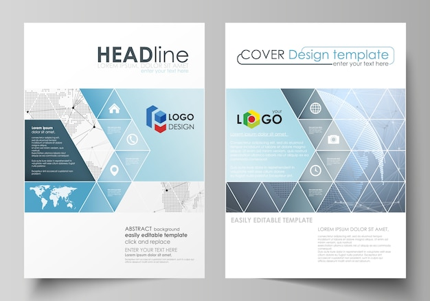Illustration the layout of two a4 format covers with triangles templates for brochure, flyer, bookle