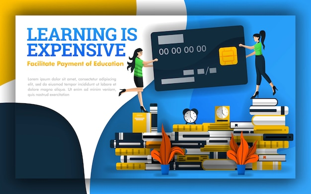 Illustration of learning is expensive with a credit card Premium Vector