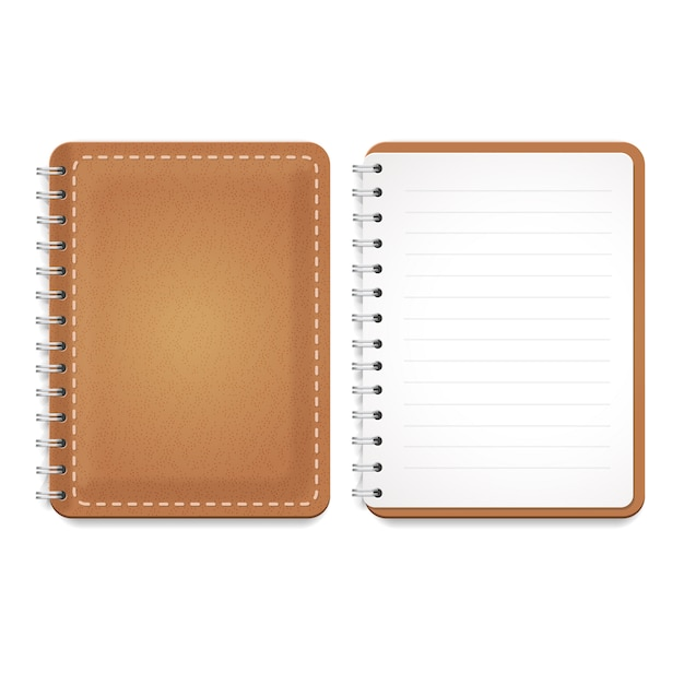Illustration of a leather notebook with spiral, notepad and blank lined paper Premium Vector