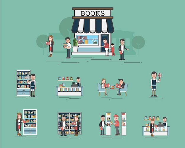 Illustration of library vector set Free Vector
