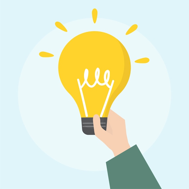 Illustration of light bulb icon Free Vector