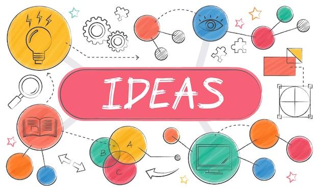 Illustration of light bulb ideas Free Vector