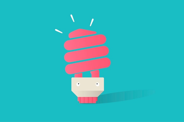 Illustration of light bulb vector on blue background Free Vector