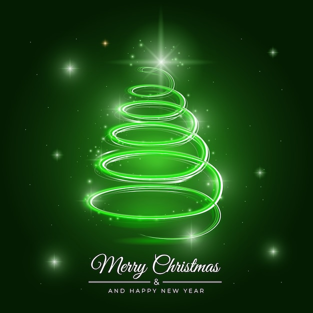Illustration of light trail christmas tree Free Vector